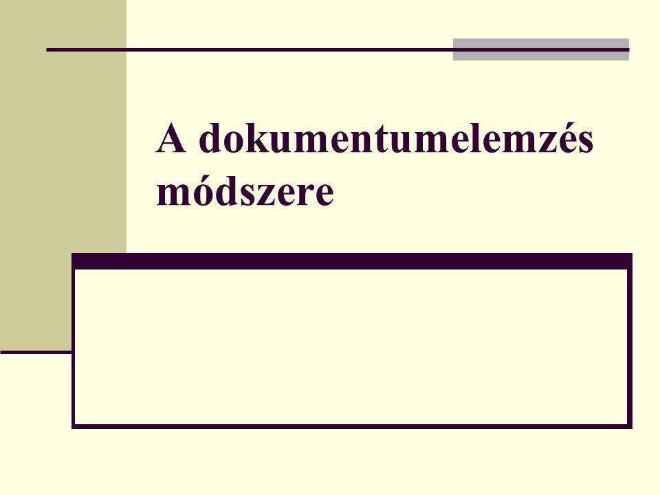 A dokumentumelemzés módszere