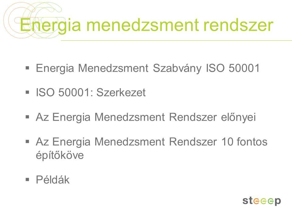 Energia menedzsment rendszer  Energia Menedzsment Szabvány ISO 50001  ISO 50001: Szerkezet  Az Energia Menedzsment Rendszer előnyei  Az Energia Menedzsment Rendszer 10 fontos építőköve  Példák