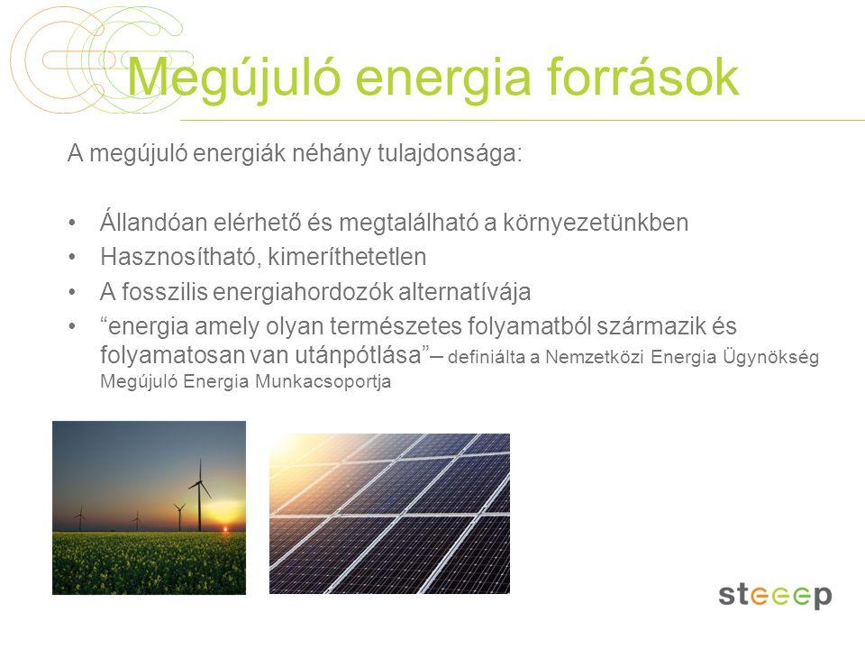 Megújuló energia források A megújuló energiák néhány tulajdonsága: Állandóan elérhető és megtalálható a környezetünkben Hasznosítható, kimeríthetetlen