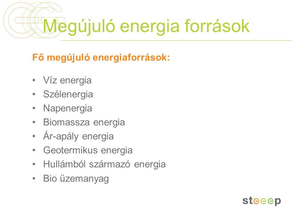 Megújuló energia források Fő megújuló energiaforrások: Víz energia Szélenergia Napenergia Biomassza energia Ár-apály energia Geotermikus energia Hullá