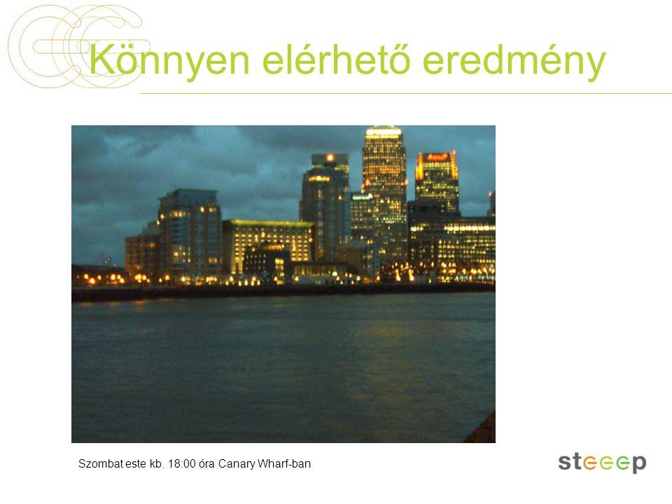 Könnyen elérhető eredmény Szombat este kb. 18:00 óra Canary Wharf-ban