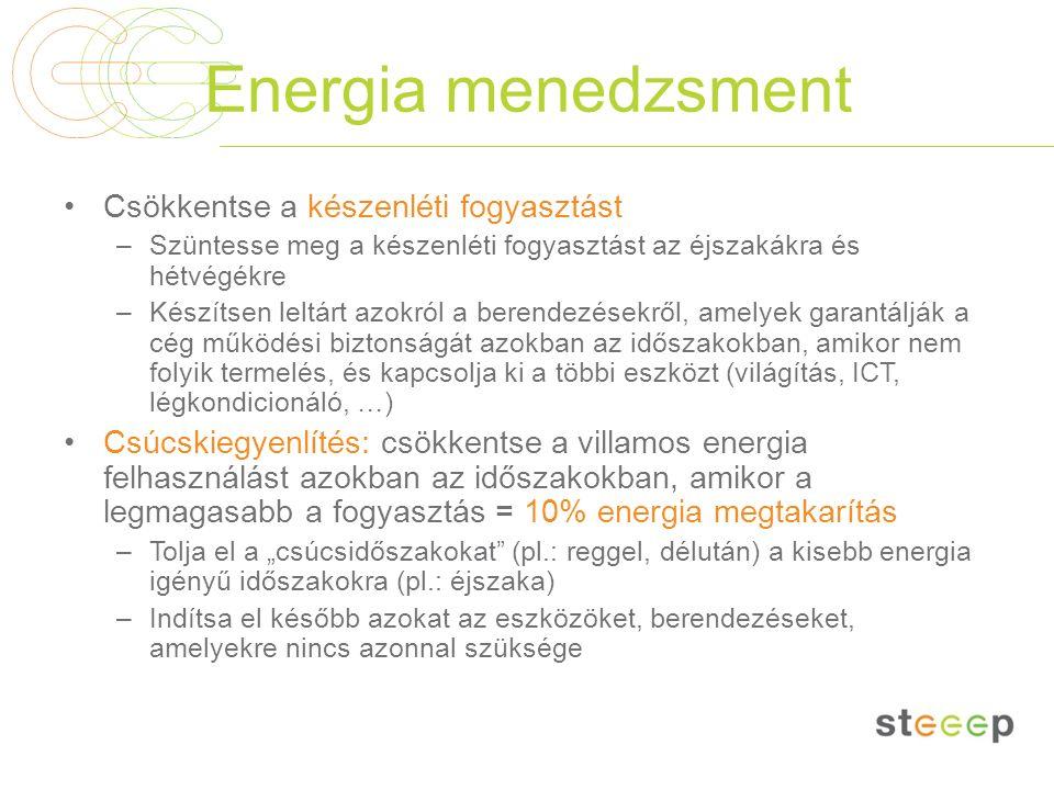 Energia menedzsment Csökkentse a készenléti fogyasztást –Szüntesse meg a készenléti fogyasztást az éjszakákra és hétvégékre –Készítsen leltárt azokról