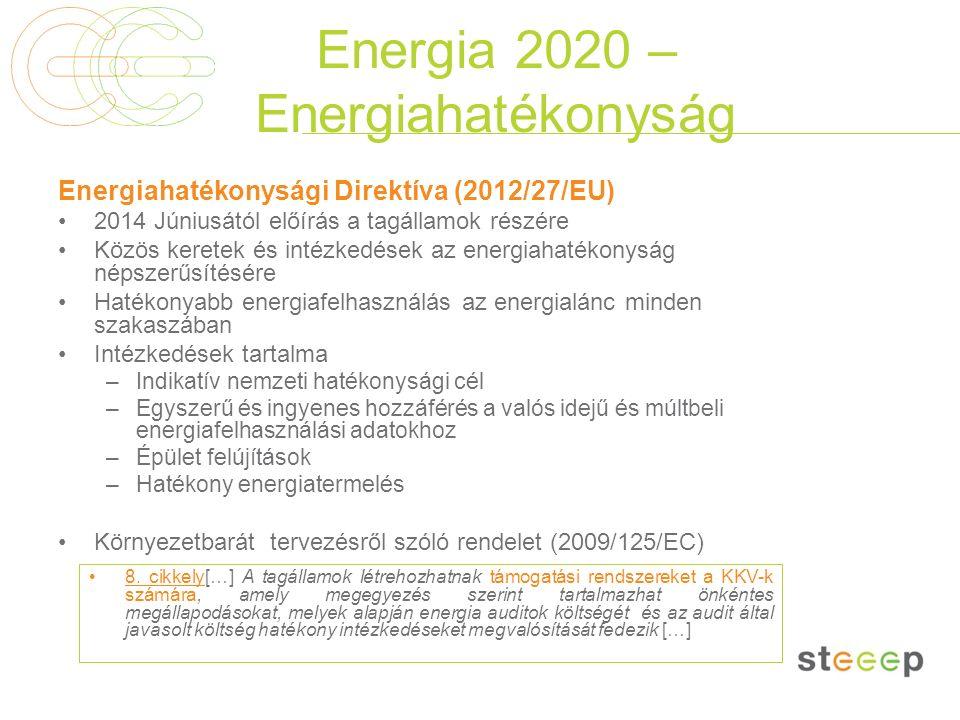 Energia 2020 – Energiahatékonyság Energiahatékonysági Direktíva (2012/27/EU) 2014 Júniusától előírás a tagállamok részére Közös keretek és intézkedése