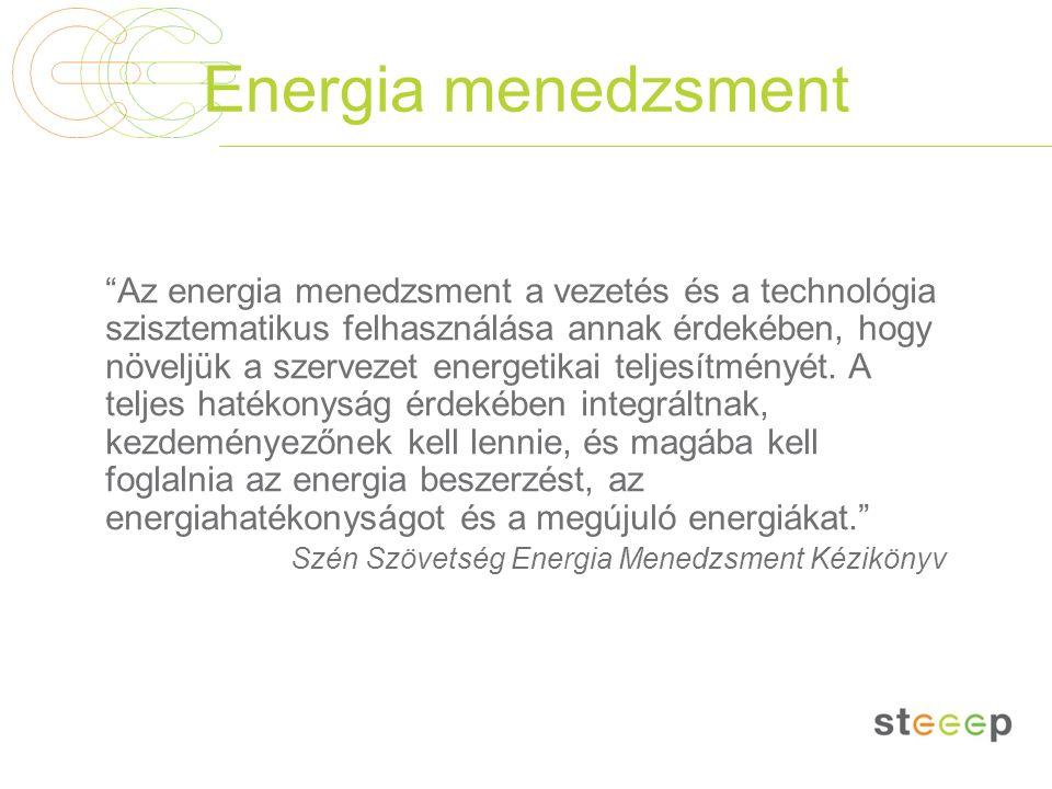 """Energia menedzsment """"Az energia menedzsment a vezetés és a technológia szisztematikus felhasználása annak érdekében, hogy növeljük a szervezet energet"""