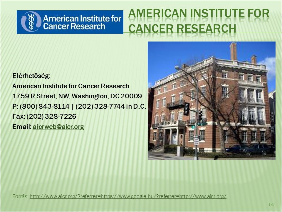 Elérhetőség: American Institute for Cancer Research 1759 R Street, NW, Washington, DC 20009 P: (800) 843-8114 | (202) 328-7744 in D.C.
