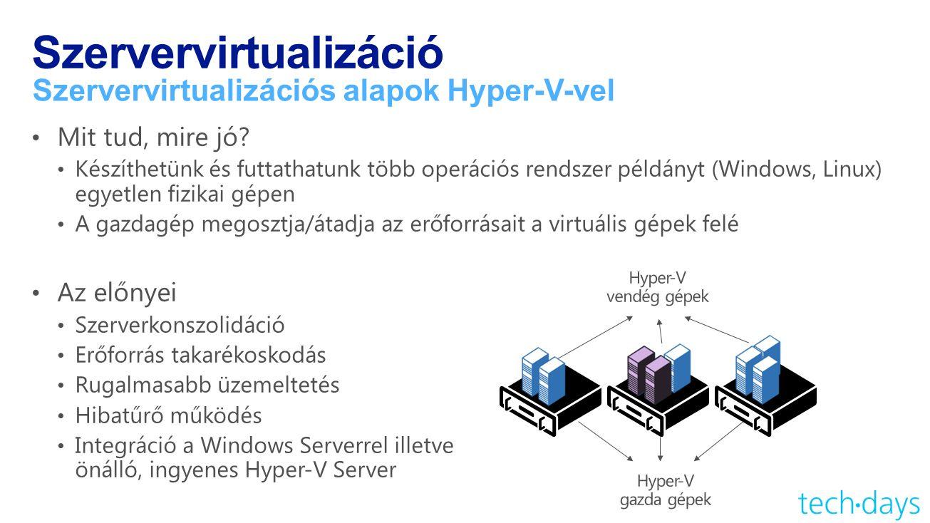Szervervirtualizáció Szervervirtualizációs alapok Hyper-V-vel