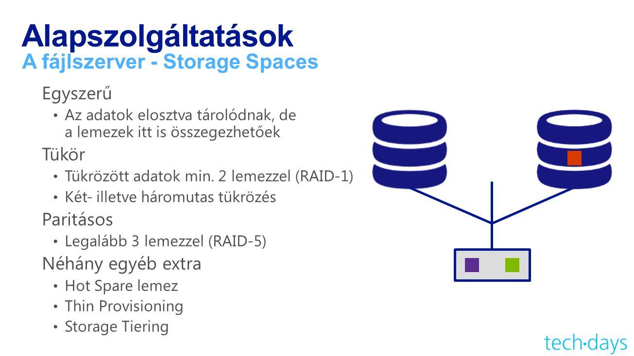 Alapszolgáltatások A fájlszerver - Storage Spaces