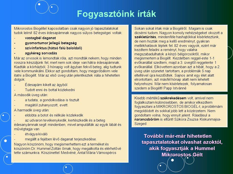 A Hummel Mikrorostos Gél összetevői: Víz, mikrobiológiai eredetű cellulóz étkezési rost, Dr.