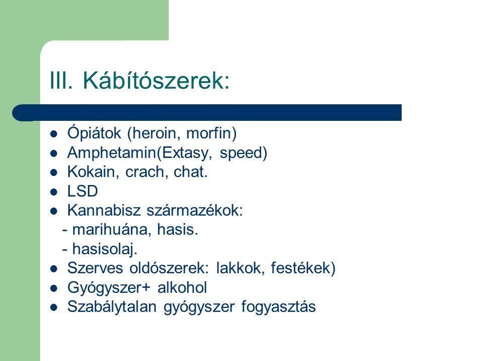 III. Kábítószerek: Ópiátok (heroin, morfin) Amphetamin(Extasy, speed) Kokain, crach, chat. LSD Kannabisz származékok: - marihuána, hasis. - hasisolaj.