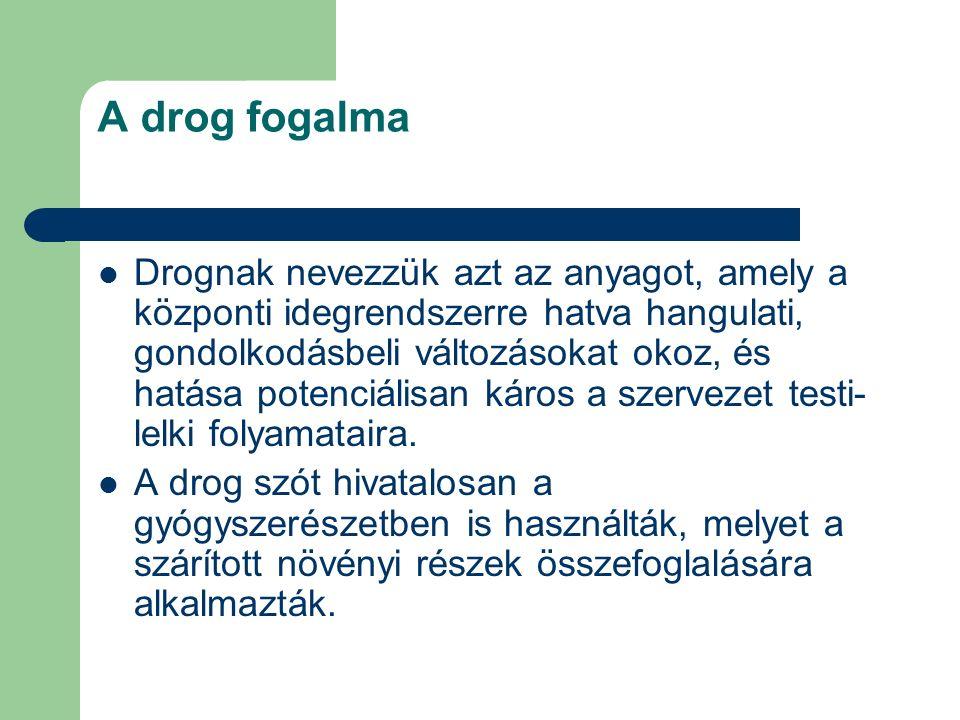A drog fogalma Drognak nevezzük azt az anyagot, amely a központi idegrendszerre hatva hangulati, gondolkodásbeli változásokat okoz, és hatása potenciá