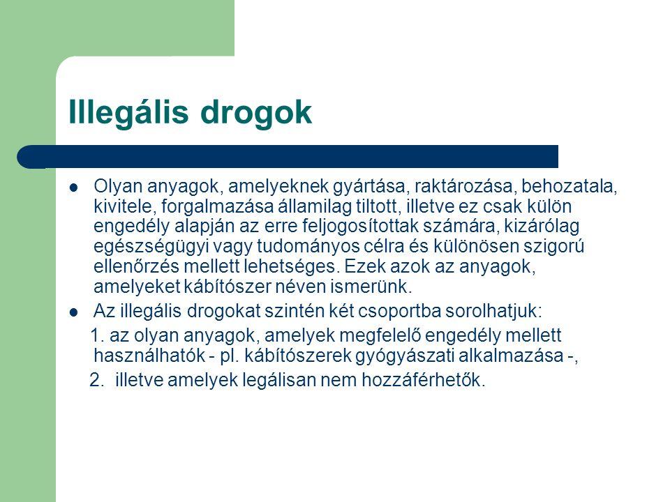 Illegális drogok Olyan anyagok, amelyeknek gyártása, raktározása, behozatala, kivitele, forgalmazása államilag tiltott, illetve ez csak külön engedély