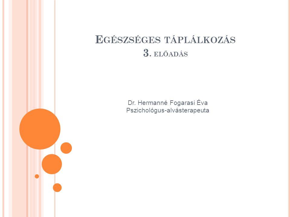 E GÉSZSÉGES TÁPLÁLKOZÁS 3. ELŐADÁS Dr. Hermanné Fogarasi Éva Pszichológus-alvásterapeuta