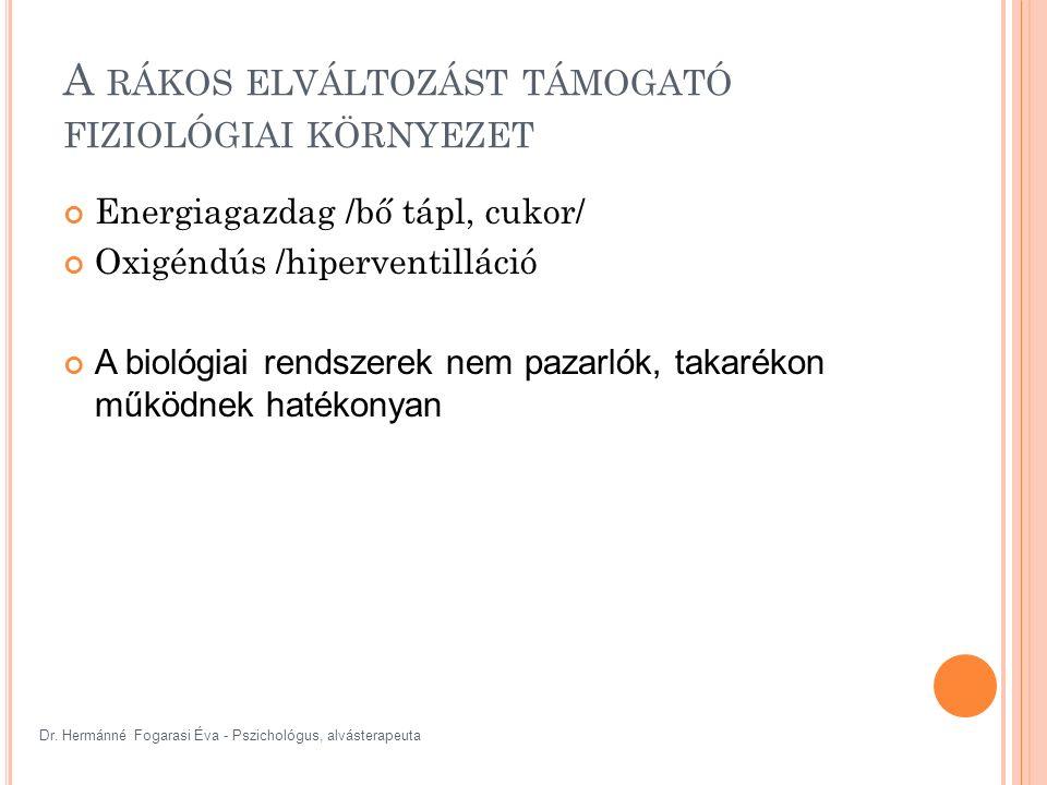 Dr. Hermánné Fogarasi Éva - Pszichológus, alvásterapeuta A RÁKOS ELVÁLTOZÁST TÁMOGATÓ FIZIOLÓGIAI KÖRNYEZET Energiagazdag /bő tápl, cukor/ Oxigéndús /