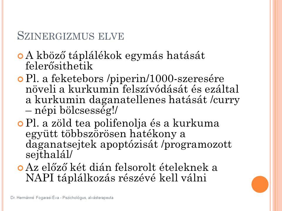 Dr. Hermánné Fogarasi Éva - Pszichológus, alvásterapeuta S ZINERGIZMUS ELVE A kböző táplálékok egymás hatását felerősithetik Pl. a feketebors /piperin