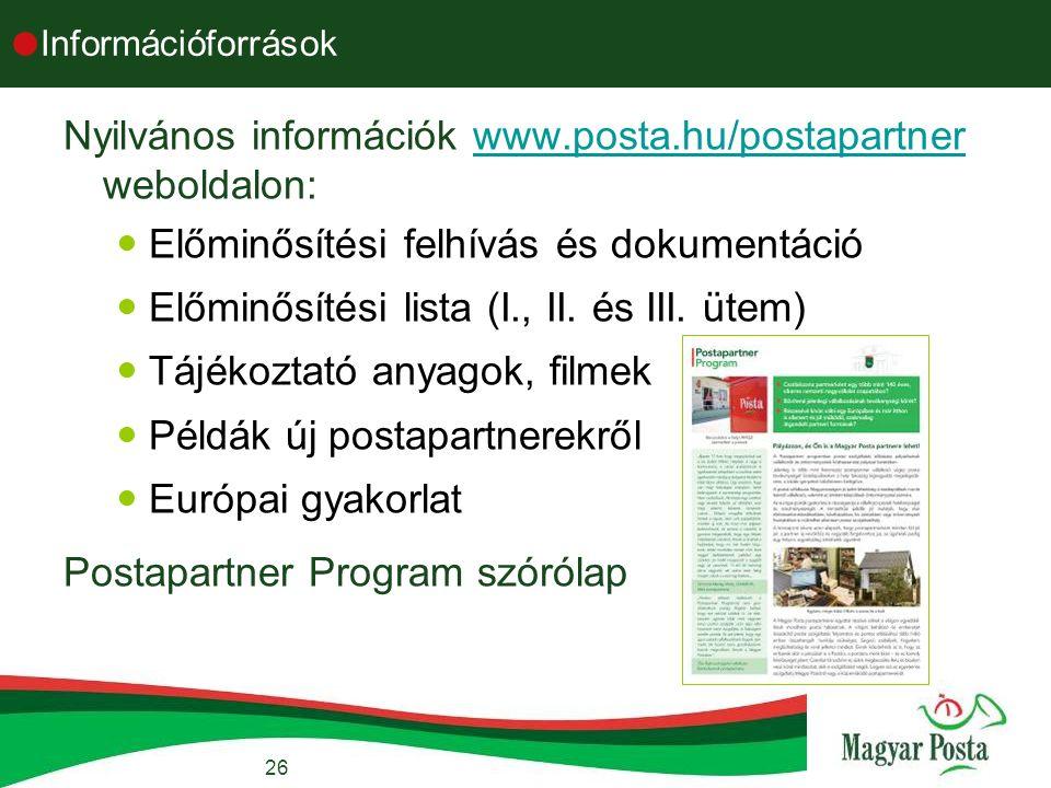 26  Információforrások Nyilvános információk www.posta.hu/postapartner weboldalon:www.posta.hu/postapartner Előminősítési felhívás és dokumentáció Előminősítési lista (I., II.