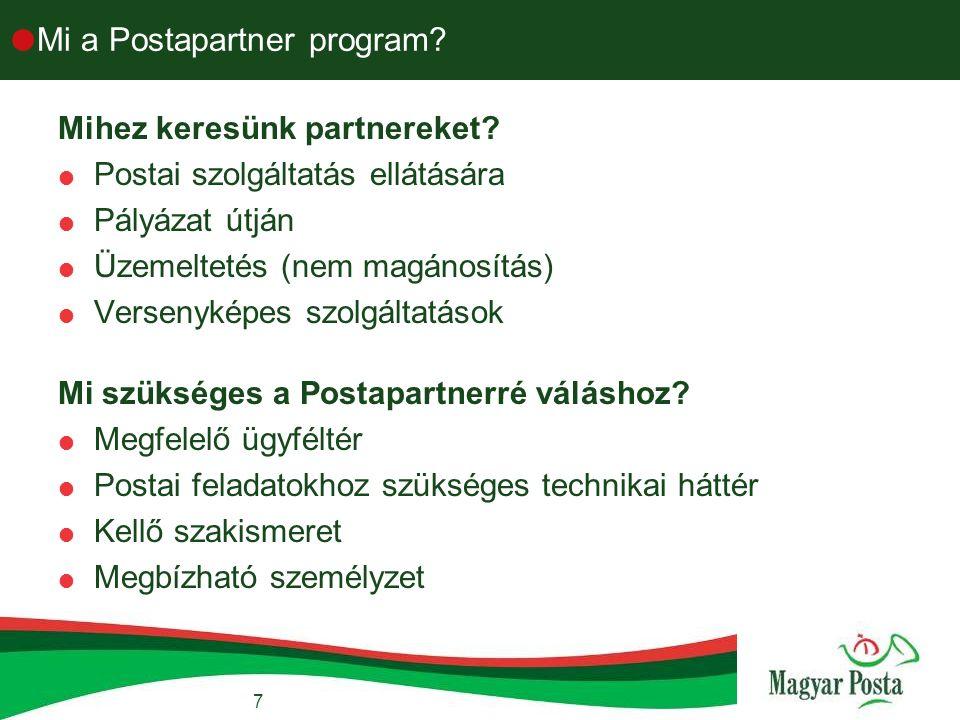 7  Mi a Postapartner program. Mihez keresünk partnereket.