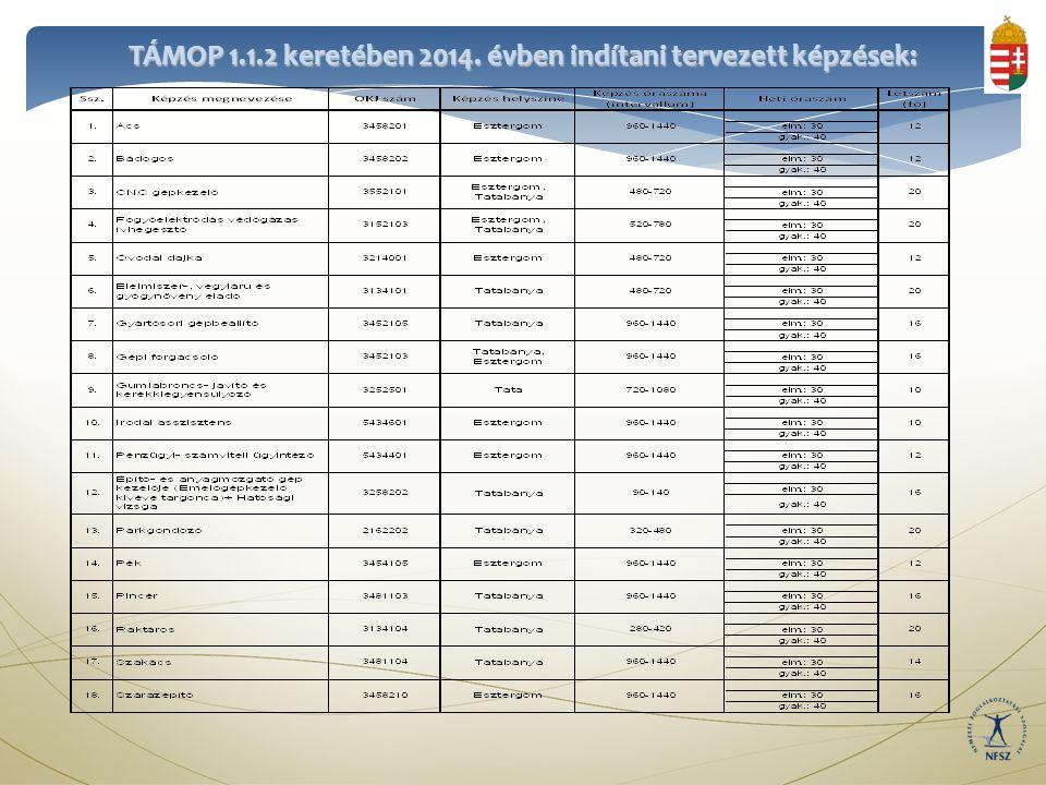 TÁMOP 1.1.2 keretében 2014. évben indítani tervezett képzések: