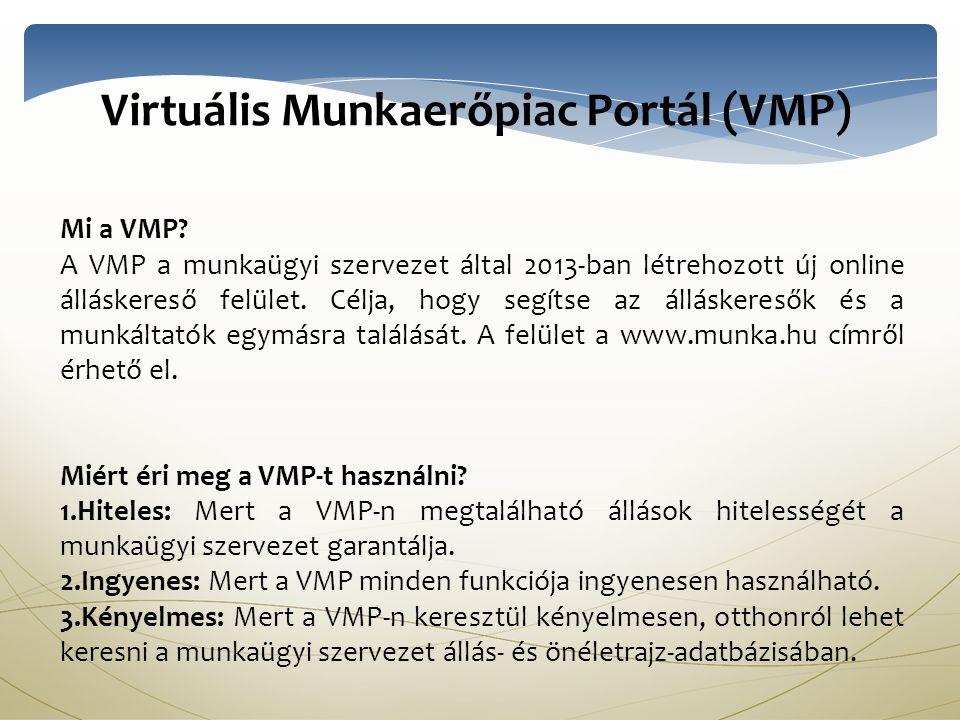Virtuális Munkaerőpiac Portál (VMP) Mi a VMP.