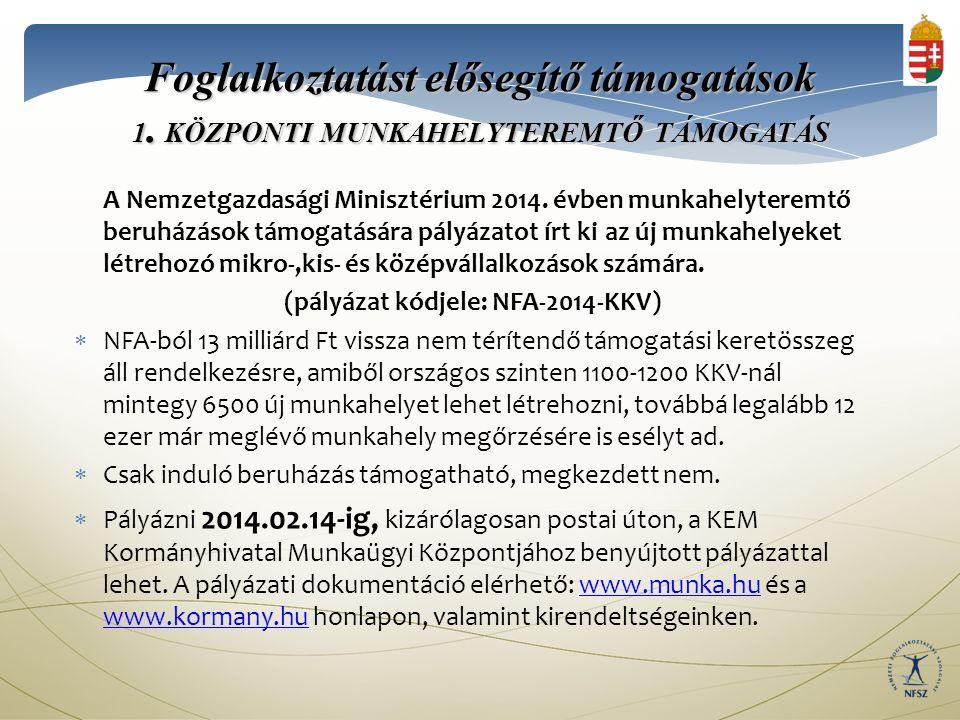 Foglalkoztatást elősegítő támogatások 1.