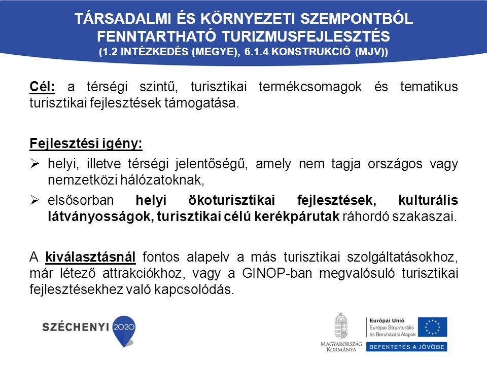 TÁRSADALMI ÉS KÖRNYEZETI SZEMPONTBÓL FENNTARTHATÓ TURIZMUSFEJLESZTÉS (1.2 INTÉZKEDÉS (MEGYE), 6.1.4 KONSTRUKCIÓ (MJV)) Cél: a térségi szintű, turisztikai termékcsomagok és tematikus turisztikai fejlesztések támogatása.