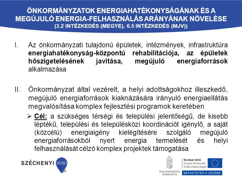 ÖNKORMÁNYZATOK ENERGIAHATÉKONYSÁGÁNAK ÉS A MEGÚJULÓ ENERGIA-FELHASZNÁLÁS ARÁNYÁNAK NÖVELÉSE (3.2 INTÉZKEDÉS (MEGYE), 6.5 INTÉZKEDÉS (MJV)) I.Az önkormányzati tulajdonú épületek, intézmények, infrastruktúra energiahatékonyság-központú rehabilitációja, az épületek hőszigetelésének javítása, megújuló energiaforrások alkalmazása II.Önkormányzat által vezérelt, a helyi adottságokhoz illeszkedő, megújuló energiaforrások kiaknázására irányuló energiaellátás megvalósítása komplex fejlesztési programok keretében  Cél: a szükséges térségi és települési jelentőségű, de kisebb léptékű, települési és településközi koordinációt igénylő, a saját (közcélú) energiaigény kielégítésére szolgáló megújuló energiaforrásokból nyert energia termelését és helyi felhasználását célzó komplex projektek támogatása