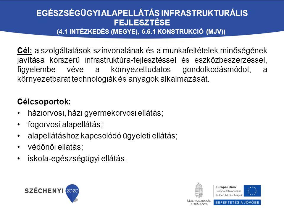 EGÉSZSÉGÜGYI ALAPELLÁTÁS INFRASTRUKTURÁLIS FEJLESZTÉSE (4.1 INTÉZKEDÉS (MEGYE), 6.6.1 KONSTRUKCIÓ (MJV)) Cél: a szolgáltatások színvonalának és a munkafeltételek minőségének javítása korszerű infrastruktúra-fejlesztéssel és eszközbeszerzéssel, figyelembe véve a környezettudatos gondolkodásmódot, a környezetbarát technológiák és anyagok alkalmazását.