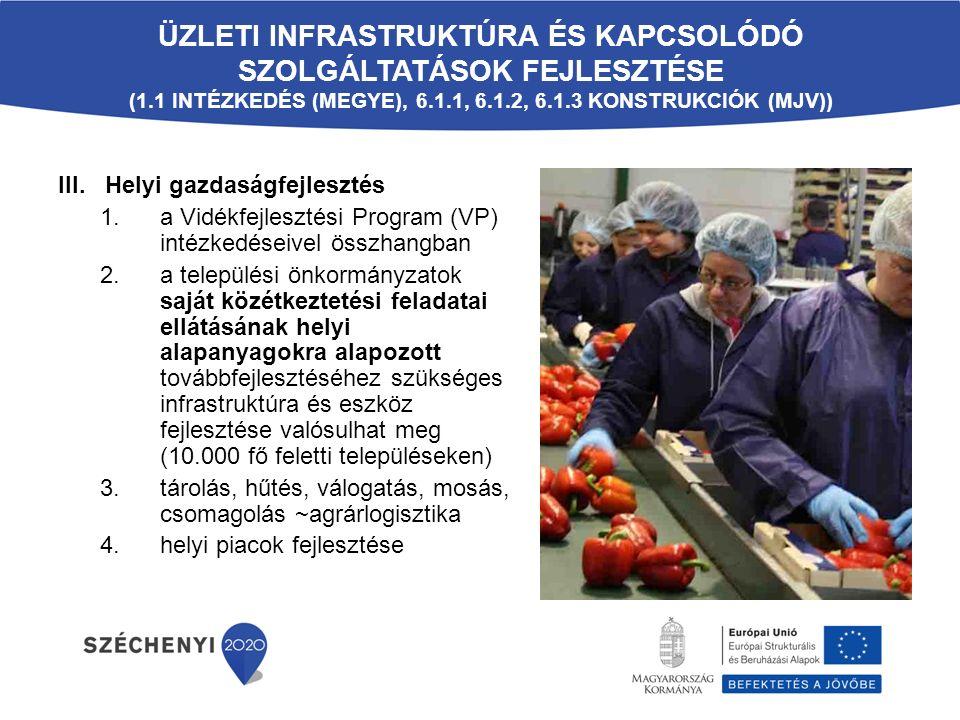 III. Helyi gazdaságfejlesztés 1.a Vidékfejlesztési Program (VP) intézkedéseivel összhangban 2.a települési önkormányzatok saját közétkeztetési feladat