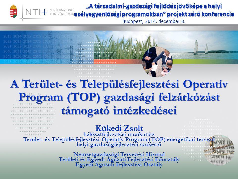 """A Terület- és Településfejlesztési Operatív Program (TOP) gazdasági felzárkózást támogató intézkedései Kükedi Zsolt hálózatfejlesztési munkatárs Terület- és Településfejlesztési Operatív Program (TOP) energetikai tervező helyi gazdaságfejlesztési szakértő Nemzetgazdasági Tervezési Hivatal Területi és Egyedi Ágazati Fejlesztési Főosztály Egyedi Ágazati Fejlesztési Osztály """"A társadalmi-gazdasági fejlődés jövőképe a helyi esélyegyenlőségi programokban projekt záró konferencia Budapest, 2014."""