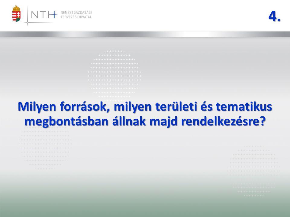 4. Milyen források, milyen területi és tematikus megbontásban állnak majd rendelkezésre?