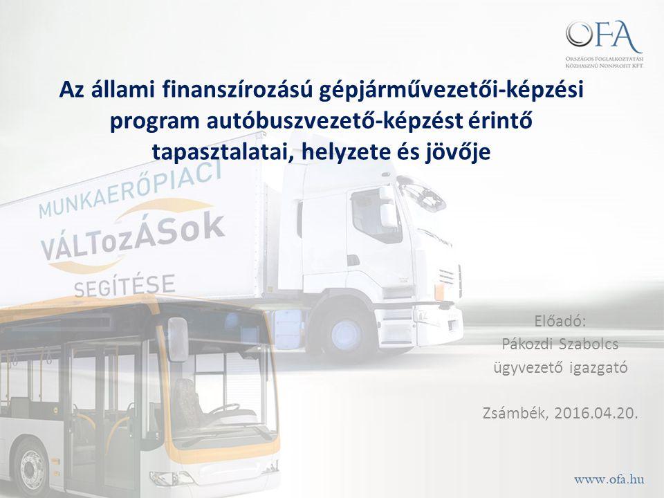 Az állami finanszírozású gépjárművezetői-képzési program autóbuszvezető-képzést érintő tapasztalatai, helyzete és jövője Előadó: Pákozdi Szabolcs ügyvezető igazgató Zsámbék, 2016.04.20.