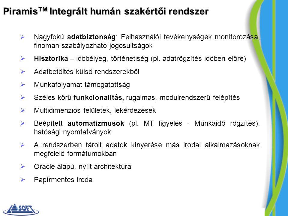 Piramis TM Integrált humán szakértői rendszer  Nagyfokú adatbiztonság: Felhasználói tevékenységek monitorozása, finoman szabályozható jogosultságok  Hisztorika – időbélyeg, történetiség (pl.
