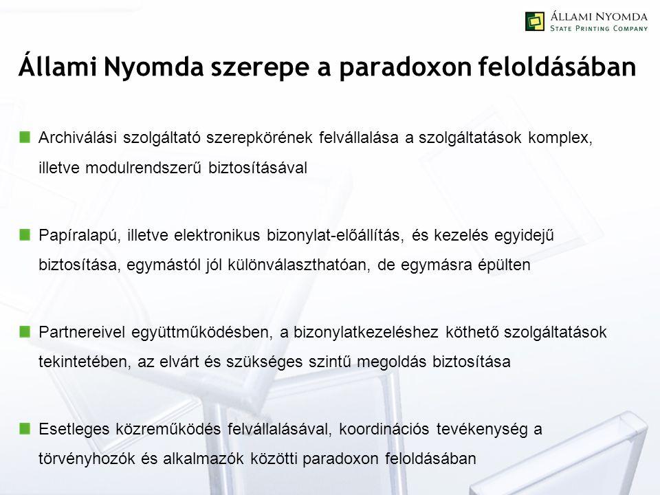 Állami Nyomda szerepe a paradoxon feloldásában Archiválási szolgáltató szerepkörének felvállalása a szolgáltatások komplex, illetve modulrendszerű biz