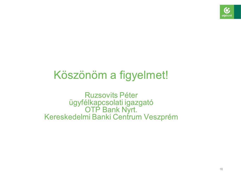 Köszönöm a figyelmet. Ruzsovits Péter ügyfélkapcsolati igazgató OTP Bank Nyrt.