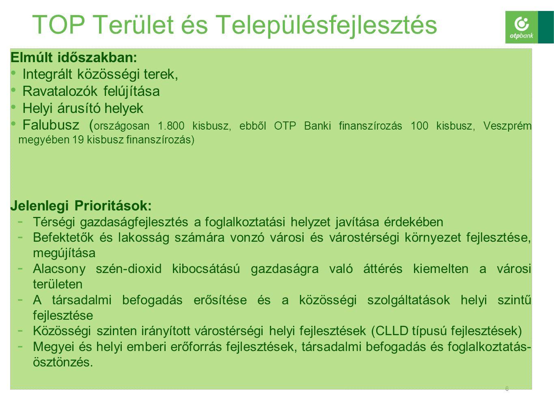 TOP Terület és Településfejlesztés 6 Elmúlt időszakban: Integrált közösségi terek, Ravatalozók felújítása Helyi árusító helyek Falubusz ( országosan 1.800 kisbusz, ebből OTP Banki finanszírozás 100 kisbusz, Veszprém megyében 19 kisbusz finanszírozás) Jelenlegi Prioritások: - Térségi gazdaságfejlesztés a foglalkoztatási helyzet javítása érdekében - Befektetők és lakosság számára vonzó városi és várostérségi környezet fejlesztése, megújítása - Alacsony szén-dioxid kibocsátású gazdaságra való áttérés kiemelten a városi területen - A társadalmi befogadás erősítése és a közösségi szolgáltatások helyi szintű fejlesztése - Közösségi szinten irányított várostérségi helyi fejlesztések (CLLD típusú fejlesztések) - Megyei és helyi emberi erőforrás fejlesztések, társadalmi befogadás és foglalkoztatás- ösztönzés.