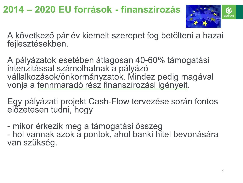 7 2014 – 2020 EU források - finanszírozás A következő pár év kiemelt szerepet fog betölteni a hazai fejlesztésekben.