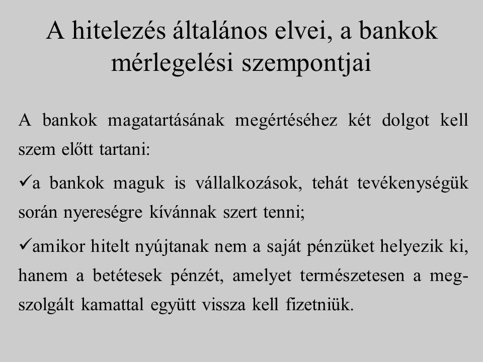 A hitelezés általános elvei, a bankok mérlegelési szempontjai A bankok magatartásának megértéséhez két dolgot kell szem előtt tartani: a bankok maguk