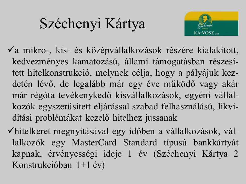 Széchenyi Kártya a mikro-, kis- és középvállalkozások részére kialakított, kedvezményes kamatozású, állami támogatásban részesí- tett hitelkonstrukció