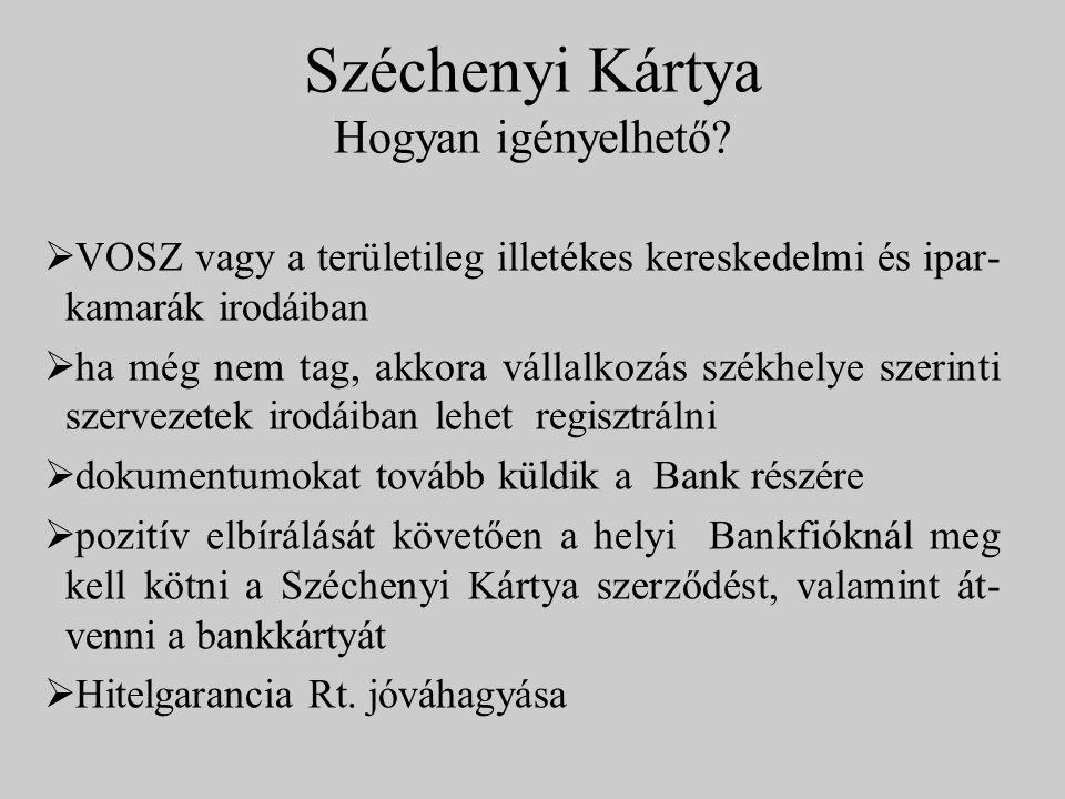 Széchenyi Kártya Hogyan igényelhető?  VOSZ vagy a területileg illetékes kereskedelmi és ipar- kamarák irodáiban  ha még nem tag, akkora vállalkozás