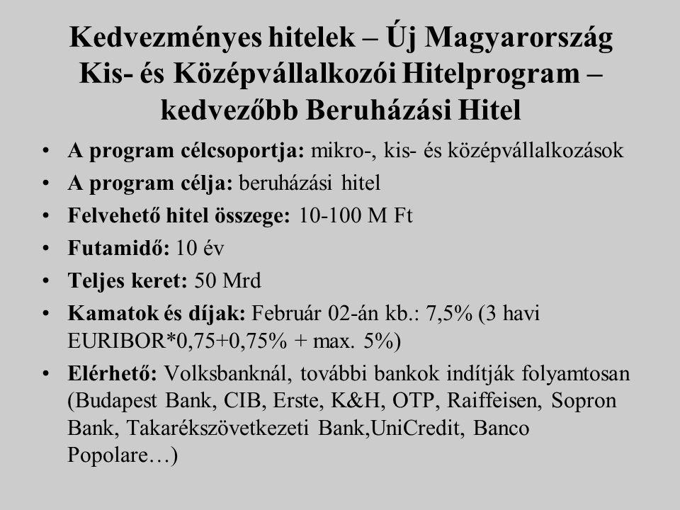 Kedvezményes hitelek – Új Magyarország Kis- és Középvállalkozói Hitelprogram – kedvezőbb Beruházási Hitel A program célcsoportja: mikro-, kis- és közé
