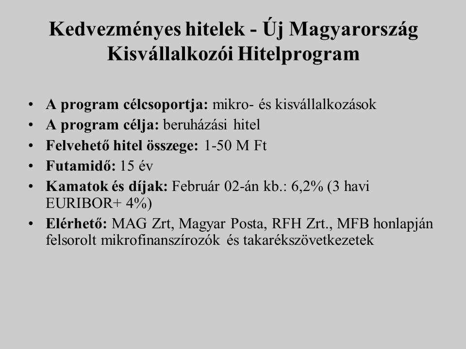 Kedvezményes hitelek - Új Magyarország Kisvállalkozói Hitelprogram A program célcsoportja: mikro- és kisvállalkozások A program célja: beruházási hite