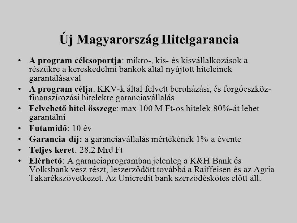 Új Magyarország Hitelgarancia A program célcsoportja: mikro-, kis- és kisvállalkozások a részükre a kereskedelmi bankok által nyújtott hiteleinek gara
