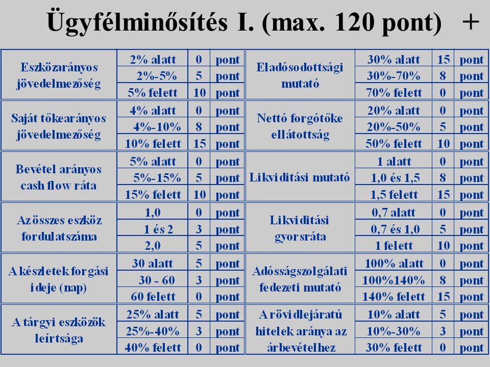 Ügyfélminősítés I. (max. 120 pont) +