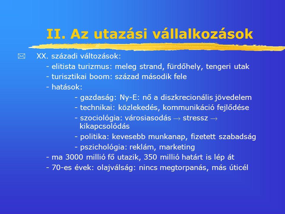 II. Az utazási vállalkozások  XX.