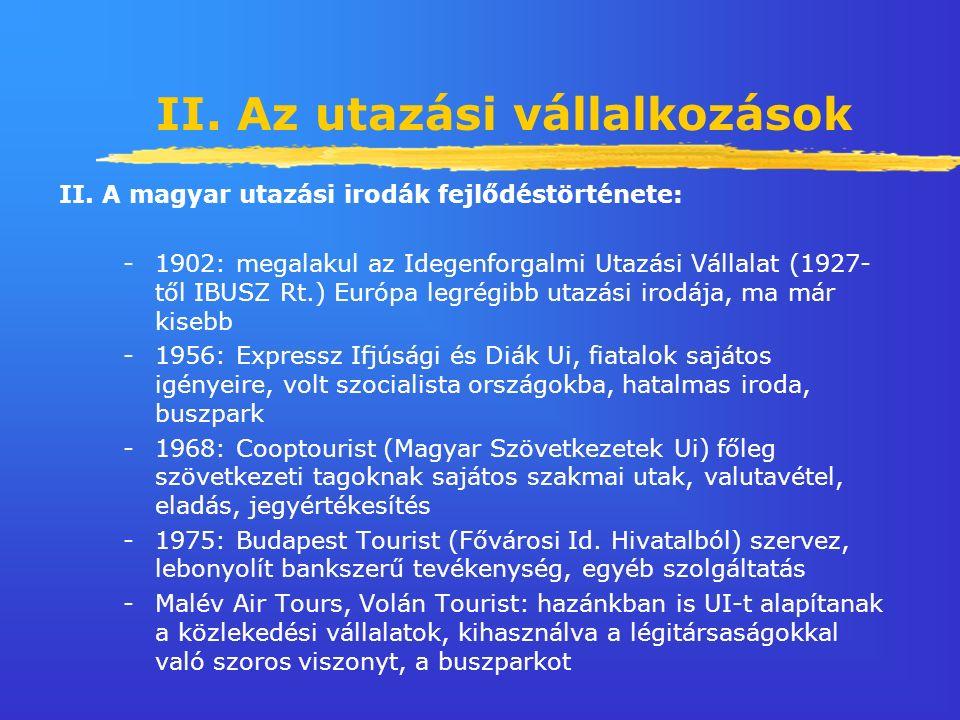 II. Az utazási vállalkozások II.