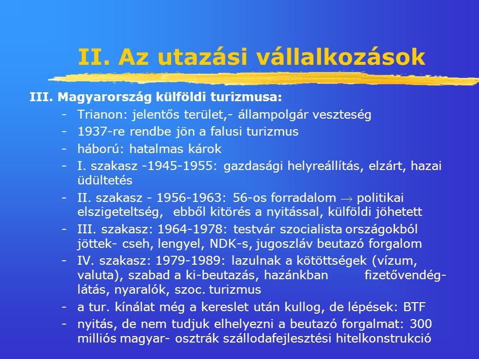 II. Az utazási vállalkozások III.