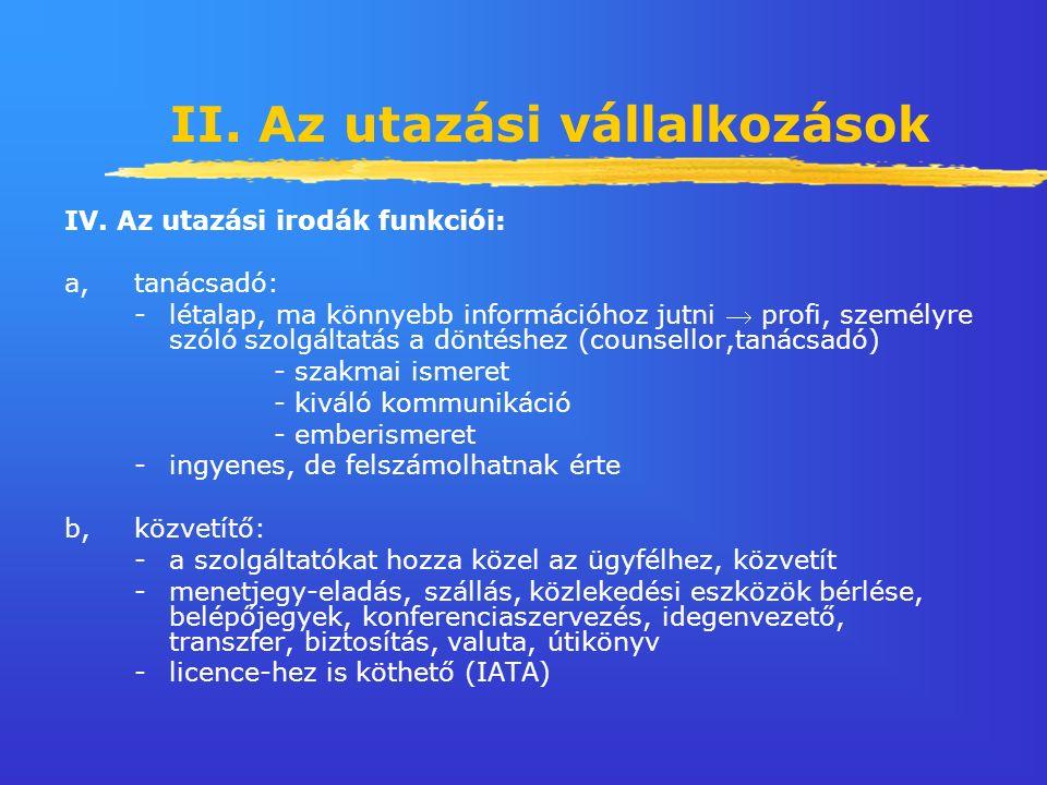 II. Az utazási vállalkozások IV.