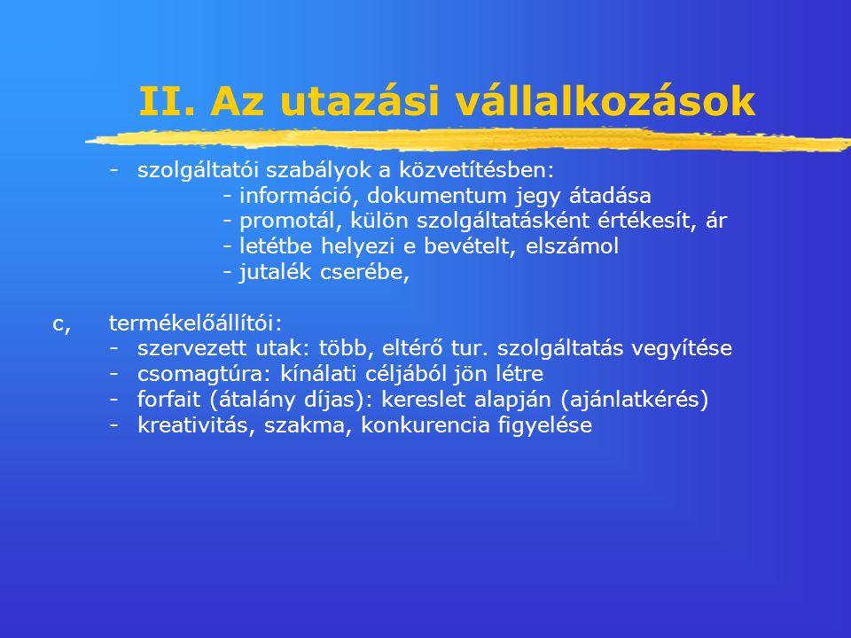 II. Az utazási vállalkozások -szolgáltatói szabályok a közvetítésben: - információ, dokumentum jegy átadása - promotál, külön szolgáltatásként értékes