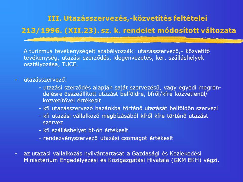 III. Utazásszervezés,-közvetítés feltételei 213/1996.