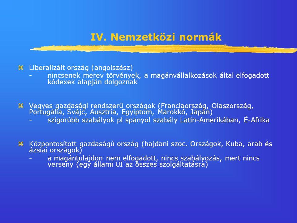 IV. Nemzetközi normák zLiberalizált ország (angolszász) - nincsenek merev törvények, a magánvállalkozások által elfogadott kódexek alapján dolgoznak z