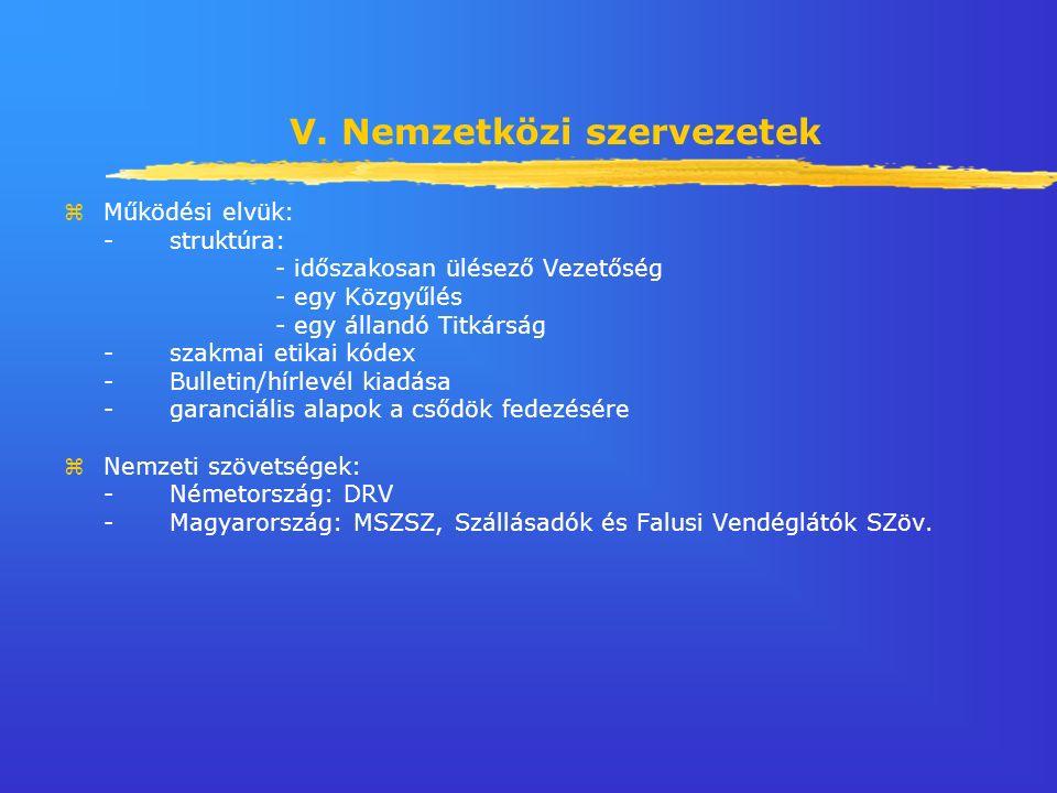 V. Nemzetközi szervezetek zMűködési elvük: -struktúra: - időszakosan ülésező Vezetőség - egy Közgyűlés - egy állandó Titkárság -szakmai etikai kódex -